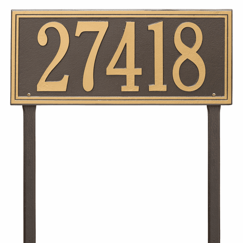 Double Line Estate Lawn One Line Plaque in Bronze and Gold