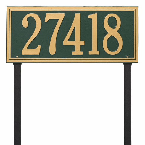 Double Line Estate Lawn One Line Plaque in Green and Gold