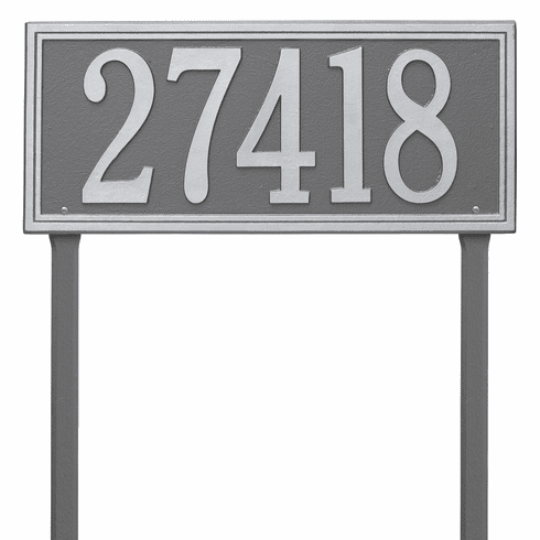 Double Line Estate Lawn One Line Plaque in Pewter and Silver