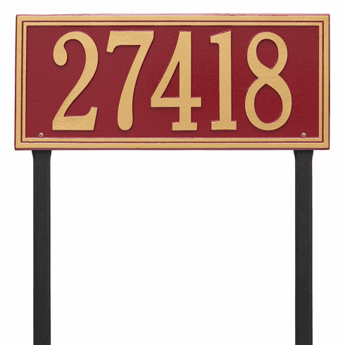 Double Line Estate Lawn One Line Plaque in Red and Gold