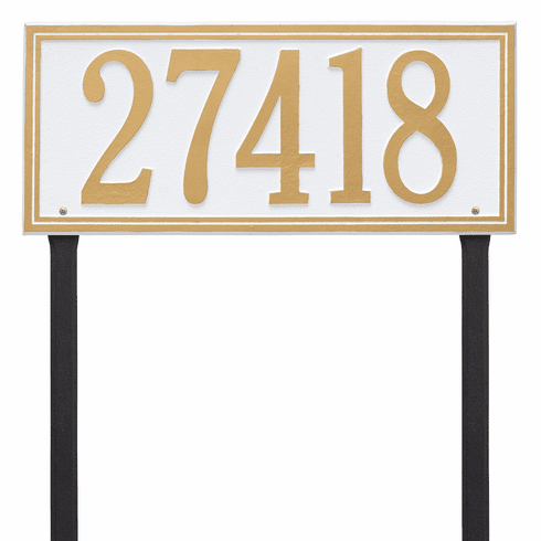 Double Line Estate Lawn One Line Plaque in White and Gold