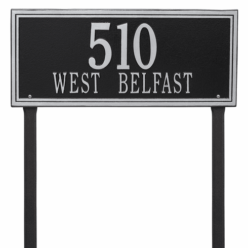 Double Line Estate Lawn Two Line Plaque in Black and Silver