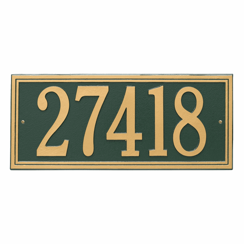 Double Line Estate Wall One Line Plaque in Green and Gold