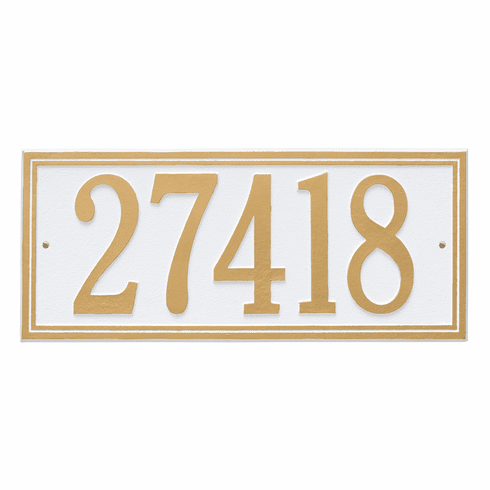 Double Line Estate Wall One Line Plaque in White and Gold