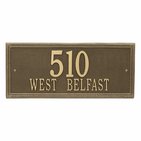 Double Line Estate Wall Two Line Plaque in Antique Brass