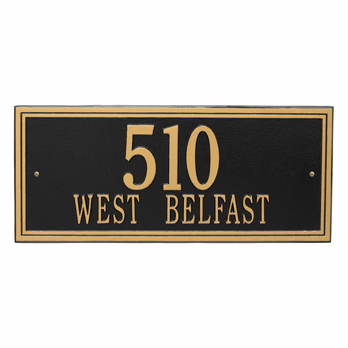 Double Line Estate Wall Two Line Plaque in Black and Gold