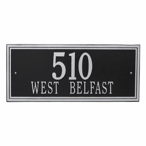 Double Line Estate Wall Two Line Plaque in Black and Silver