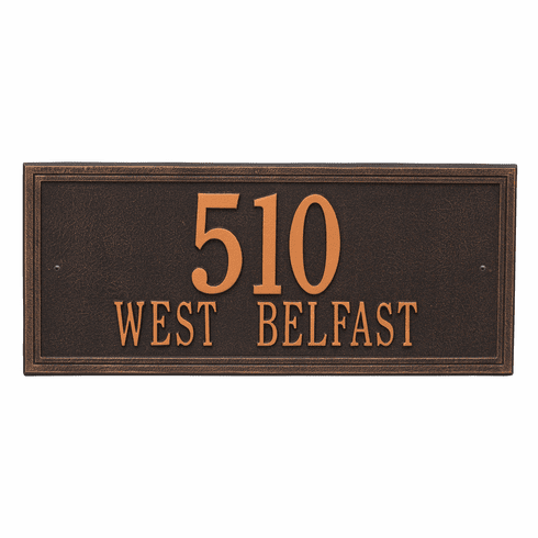 Double Line Estate Wall Two Line Plaque in Oil Rubbed Bronze