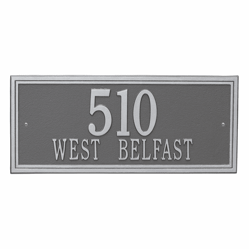 Double Line Estate Wall Two Line Plaque in Pewter and Silver