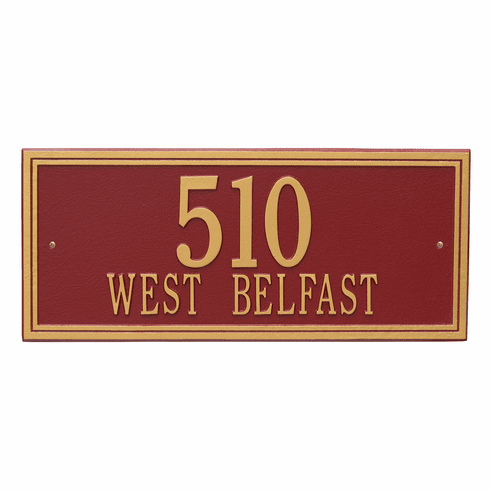 Double Line Estate Wall Two Line Plaque in Red and Gold