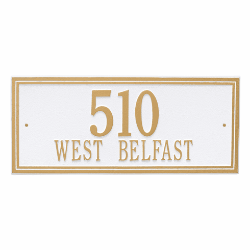 Double Line Estate Wall Two Line Plaque in White and Gold