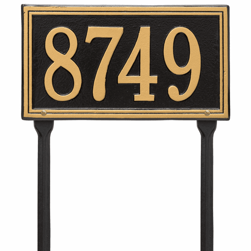 Double Line Standard Lawn One Line Plaque in Black and Gold