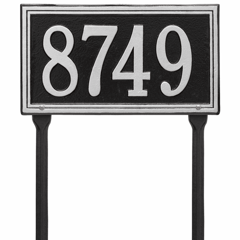 Double Line Standard Lawn One Line Plaque in Black and Silver