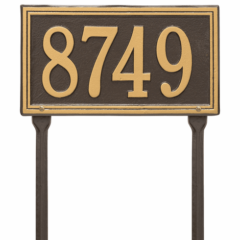 Double Line Standard Lawn One Line Plaque in Bronze and Gold
