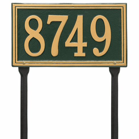 Double Line Standard Lawn One Line Plaque in Green and Gold