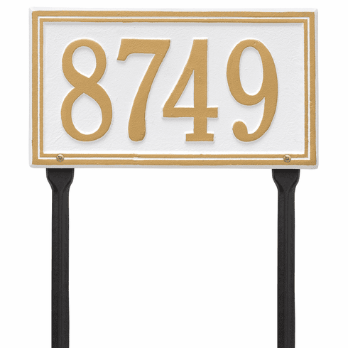 Double Line Standard Lawn One Line Plaque in White and Gold