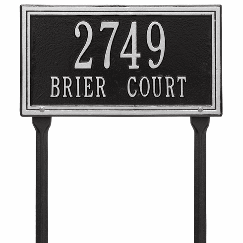 Double Line Standard Lawn Two Line Plaque in Black and Silver
