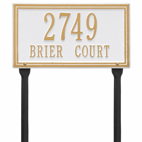Double Line Standard Lawn Two Line Plaque in White and Gold