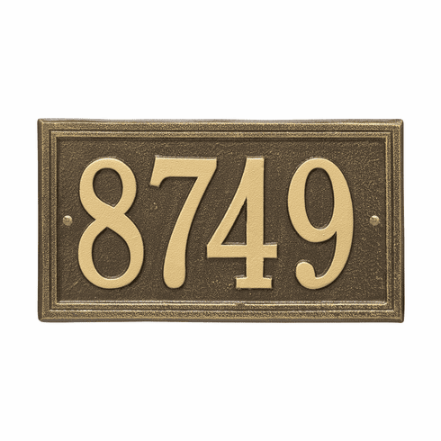 Double Line Standard Wall One Line Plaque in Antique Brass