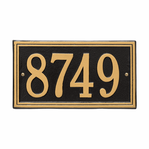 Double Line Standard Wall One Line Plaque in Black and Gold