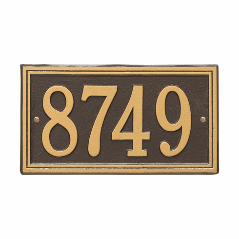 Double Line Standard Wall One Line Plaque in Bronze and Gold
