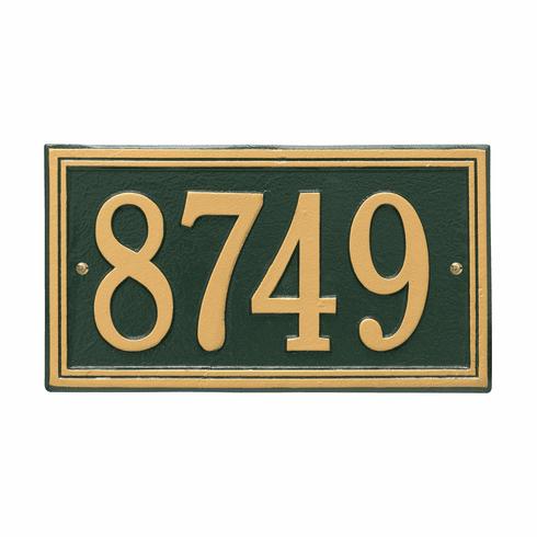 Double Line Standard Wall One Line Plaque in Green and Gold
