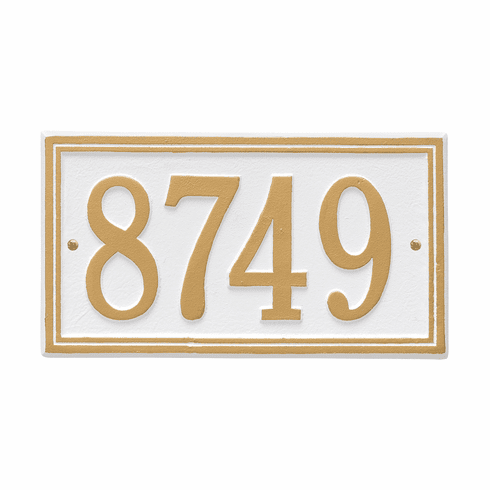 Double Line Standard Wall One Line Plaque in White and Gold