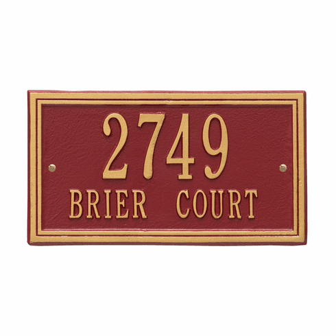Double Line Standard Wall Two Line Plaque in Red and Gold