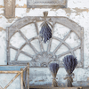 Arched Window Frame with Lavender Wall Decor Vignette