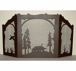 Duck and Cabin Arched or Straight Top Fireplace Screen