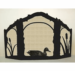 Duck on the Pond Fireplace Screen - Arched Top