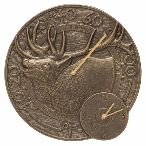 Elk 14 inches Indoor Outdoor Wall Clock & Thermometer - French Bronze
