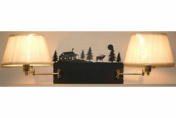 Elk and Cabin Double Swing Arm Wall Lamp