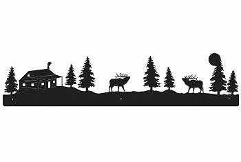 Elk and Cabin Rustic Scenery Wall Art - 3 sizes