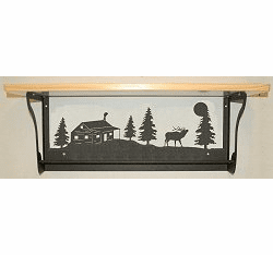 Elk and Cabin Rustic Towel Bar with Shelf