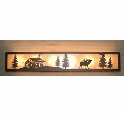 Elk and Cabin Valance Style Bath Vanity Light