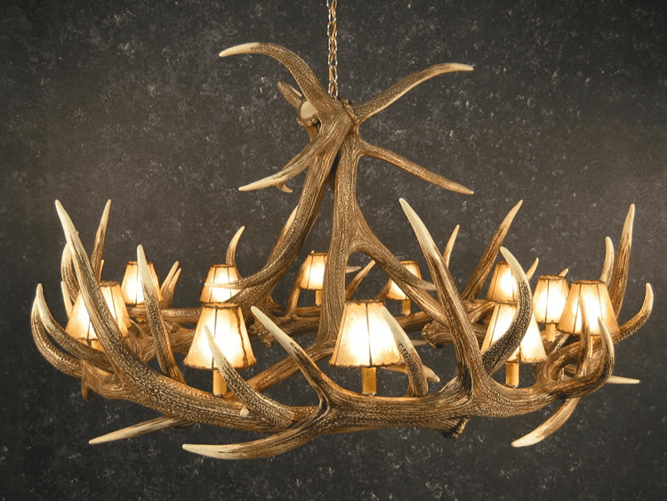 Elk Antler Chandelier - 12 Antlers and Light Shades - Ceiling Light