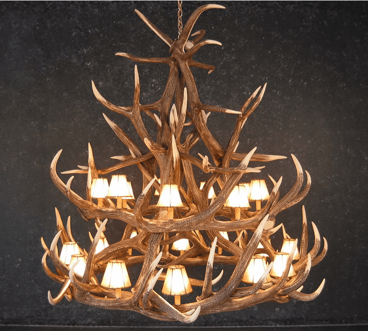 Elk Antler Chandelier - 18 Antlers w/Light Shades - Cast Antler Chandelier