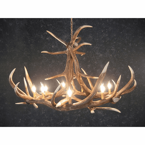 Elk Antler Chandelier - 6 Antler Design - Rustic Western Lighting