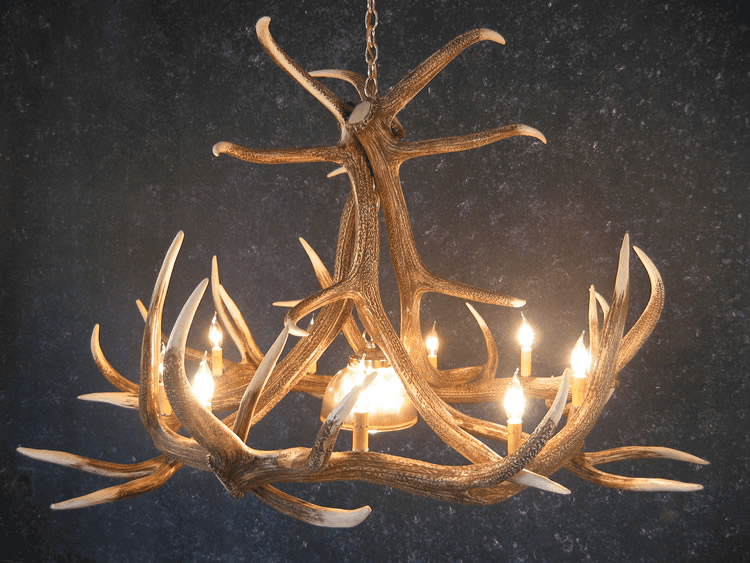 Elk Antler Chandelier - 9 Antler w/Center Light - Log Cabin Decor