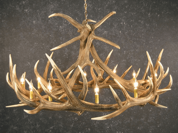 Elk Antler Chandelier with 12 Candelabra Lights - Family Room Lighting