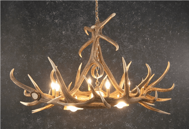 Elk Antler Chandelier With 3 Center Downlights - Pool Table Light