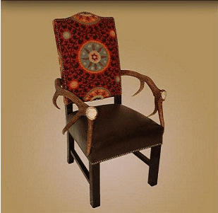 Elk Arm Chair with Antler