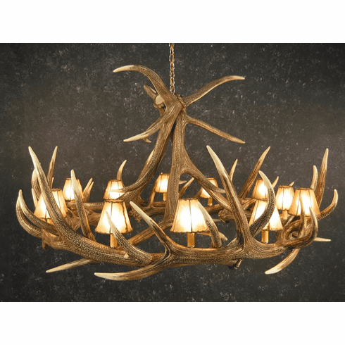 Elk Horn Chandelier w/Light Shades- Log Cabin Lighting