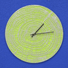 End Grain 16 inches Indoor Outdoor Wall Clock - Acid Green and Silver