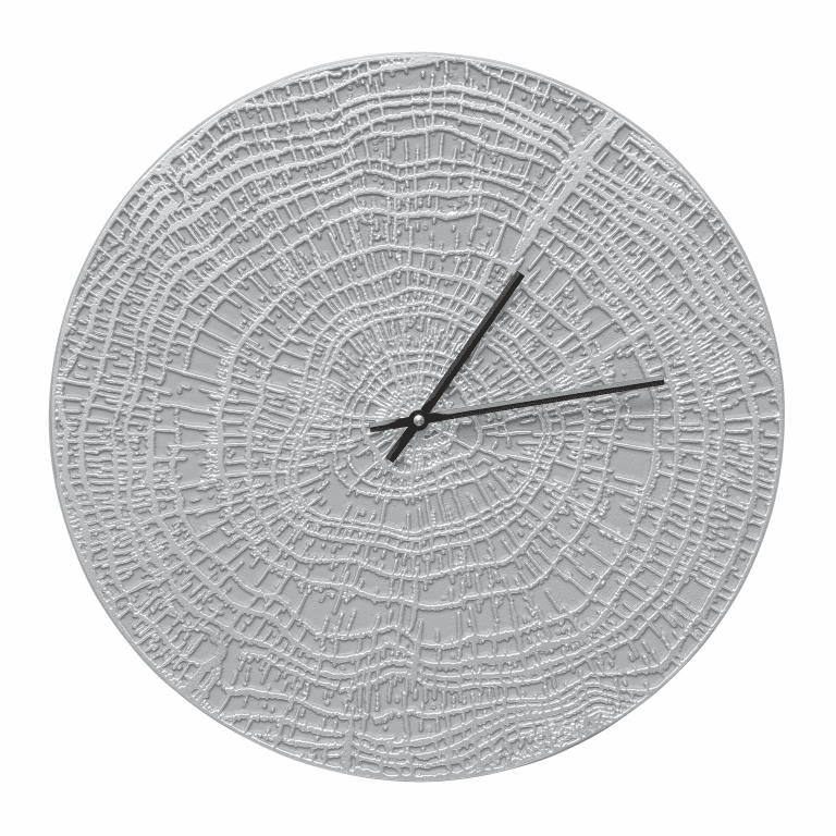 End Grain 16 inches Indoor Outdoor Wall Clock - Grey and Silver