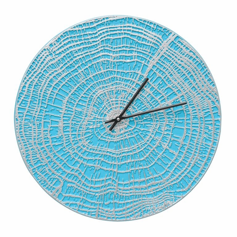 End Grain 16 inches Indoor Outdoor Wall Clock - Scuba Blue and Silver