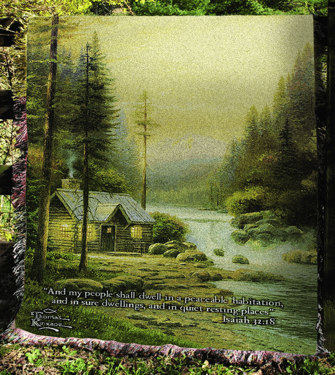 Evening in the Forest Tapestry Throw with Verse