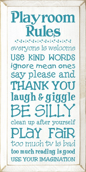 Family & Friend Sign...Playroom Rules - Everyone Is Welcome, Use Kind Words