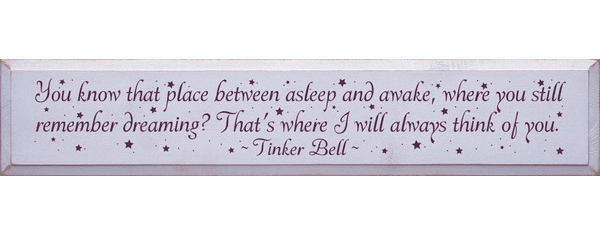 Family & Friend Sign...You Know That Place Between Asleep And Awake... - Tinker Bell Quote